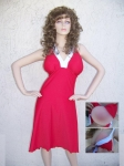 Halter Dress With Breast Pockets Red