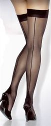Extra Long Cuban Heel Stockings Black
