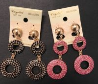 Two Pack Double Ring Rhinestone Clipons